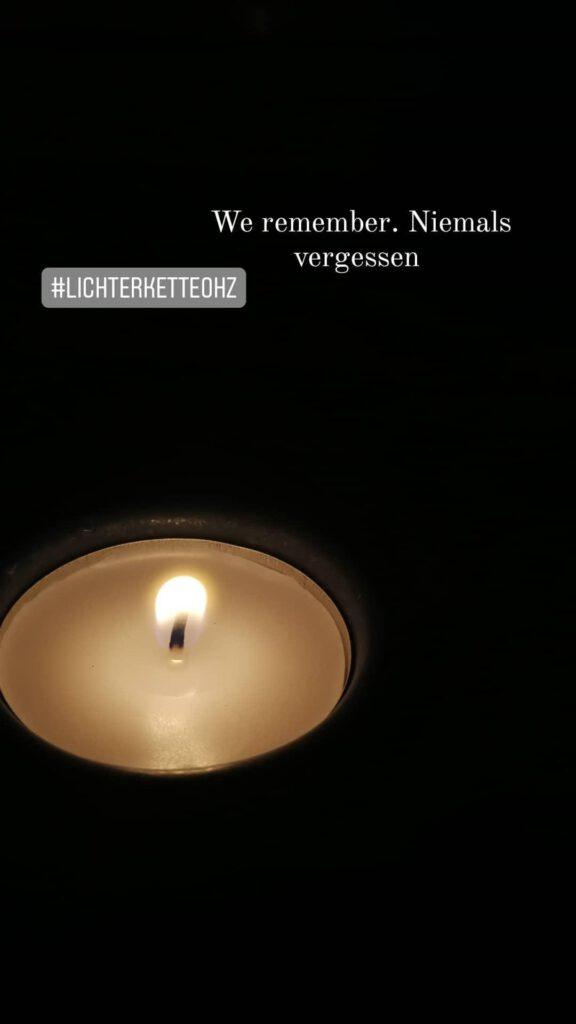 Ein Licht gegen das Vergessen. Ein Licht der Mahnung. Kristin Lindemann